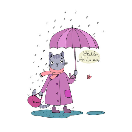 Cute cartoon cat, umbrella, rain and puddles. Hand drawing isolated objects on white background. Vector illustration. Hello, Autumn. Illustration
