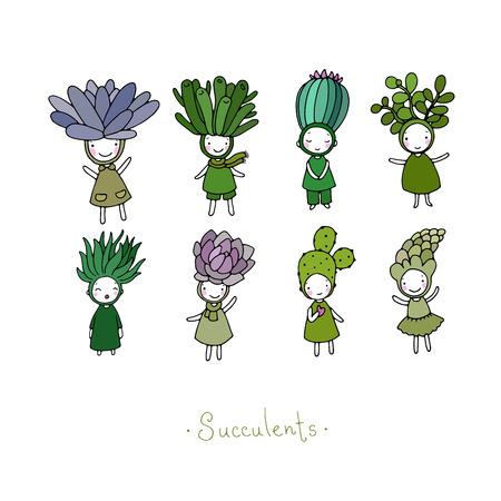 かわいい漫画の多肉植物とグラフィックのセットです。少し面白い妖精。手に白い背景の孤立したオブジェクトを描画します。ベクトルの図。