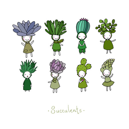 Graphic set with cute cartoon succulents. Little funny fairy. Hand drawing isolated objects on white background. Vector illustration.