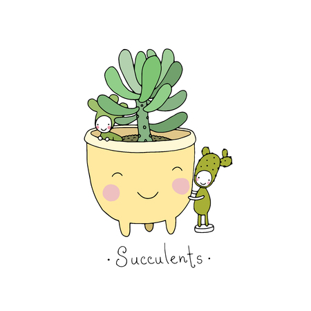 Cartoon cute succulents in pot. Little fairy.Hand drawing isolated objects on white background. Vector illustration. Coloring book Illustration