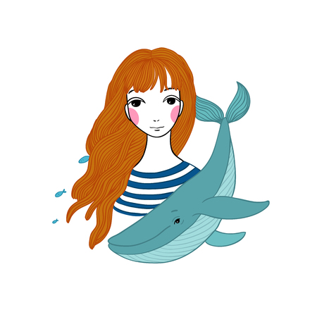 strip shirt: Beautiful young girl sailor with a whale and star in her hair. Sea theme. Hand drawing isolated objects on white background. Vector illustration.