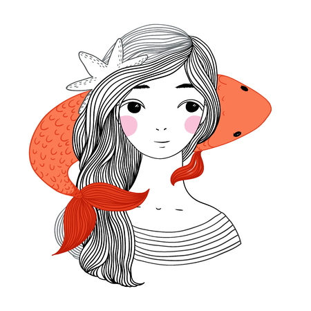 dorsal: Beautiful young girl sailor and the Japanese carp. Starfish in the hair. Hand drawing isolated objects on white background. Vector illustration. Illustration
