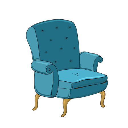 Beautiful vintage chair. Hand drawing isolated objects on white background. Vector illustration.