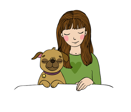 Beautiful young girl and a cute pug.Pets. Hand drawing isolated objects on white background. Vector illustration. Illustration