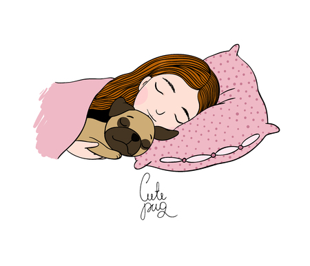 black hair blue eyes: Sleeping beautiful young girl and a cute pug. Pillow and blanket. Hand drawing isolated objects on white background. Vector illustration.