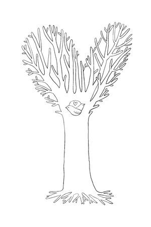 Magic Tree. Deux petits oiseaux dans le creux. Dessin à la main des objets sur fond blanc isolé. Vector illustration. Vecteurs