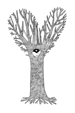 pigeon holes: Magic Tree. Two little birds in the hollow. Hand drawing isolated objects on white background. Vector illustration. Illustration