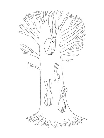 the rabbit hole: Magic Tree and hares. Hand drawing isolated objects on white background. Vector illustration. Illustration