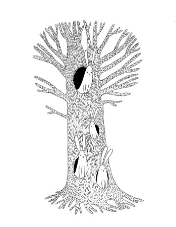 small flock: Magic Tree and hares. Hand drawing isolated objects on white background. Vector illustration. Illustration