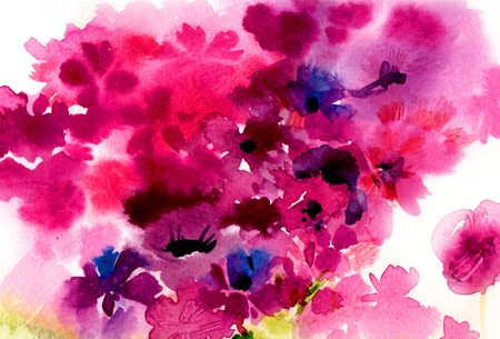 watercolor pink flowers on a white background. botanical illustration.