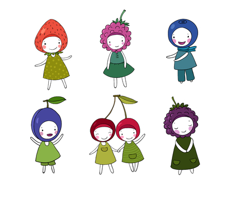 raspberry dress: Set of cute cartoon girl berries. Hand drawing isolated objects on white background. Vector illustration.