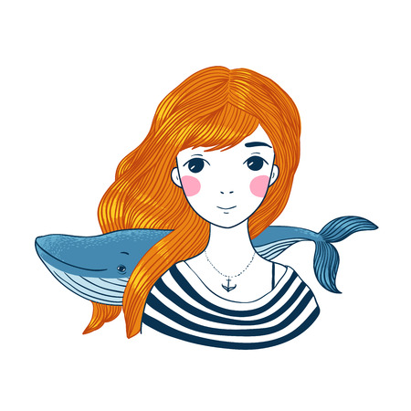 Beautiful young girl sailor with a whale and star in her hair. Sea theme. Hand drawing isolated objects on white background. Vector illustration.