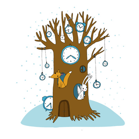 Magic tree, clock, fox and hare. Hand drawing isolated objects on white background. Vector illustration. Illustration
