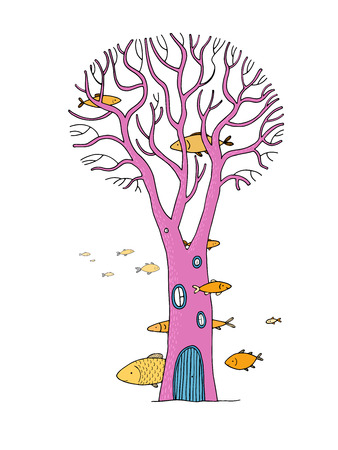 beautiful magic tree and sea fish. isolated objects on white background. Vector illustration.