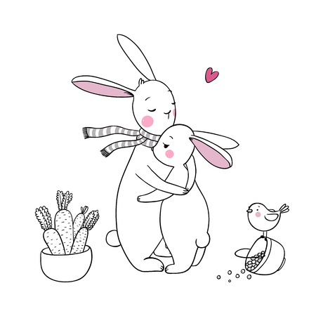 carrots isolated: cute rabbits, a basket of carrots and a bird. Hand drawing isolated objects on white background. Vector illustration. Coloring book