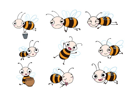 Set with cute cartoon bees. isolated objects on white background. Vector illustration.