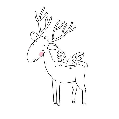 white tail deer: Magic Deer with wings. Animals of the forest. isolated objects on white background. Vector illustration. Illustration