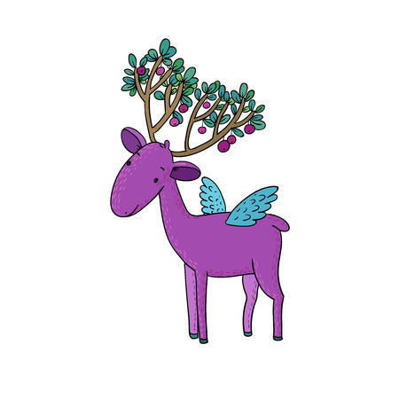 white tail deer: Magic Deer with wings. Animals of the forest. isolated objects on white background. Vector illustration. Cherries on the horns. Illustration