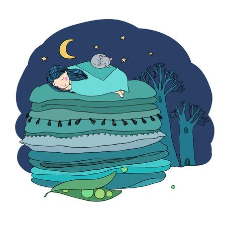 La princesa en el guisante. Mantas y almohadas. Dibujo a mano aislado objetos sobre fondo blanco. Ilustración del vector. Libro de colorear. paisaje nocturno Foto de archivo - 63872032
