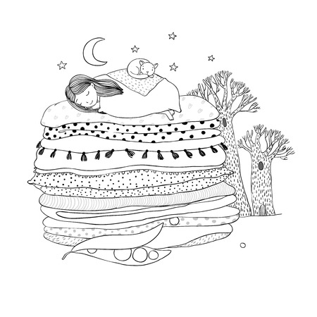 blankets: Princess on the Pea. Blankets and pillows. Hand drawing isolated objects on white background. Vector illustration. Coloring book. night landscape