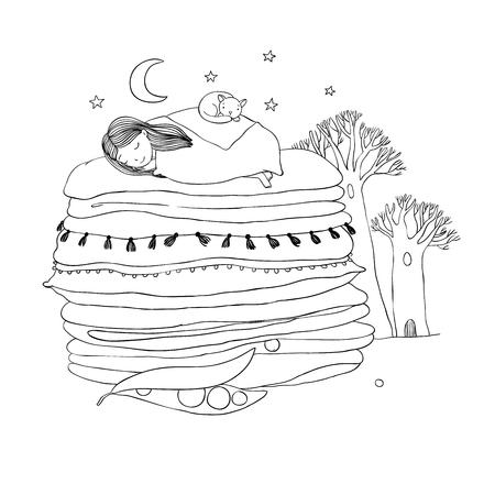 エンドウの王女。毛布と枕。手に白い背景の孤立したオブジェクトを描画します。ベクトルの図。塗り絵。夜の風景  イラスト・ベクター素材