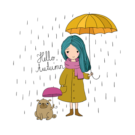 beautiful little girl and a cute cartoon pug under an umbrella. Autumn theme. Hand drawing isolated objects on white background. Vector illustration. Vettoriali