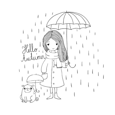 small girl: beautiful little girl and a cute cartoon pug under an umbrella. Autumn theme. Hand drawing isolated objects on white background. Vector illustration. Coloring book