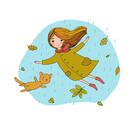 Beautiful little girl and a cute cartoon cat flying with autumn leaves. Hand drawing isolated objects on white background. Vector illustration. Illustration