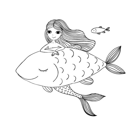 big fish: Beautiful little mermaid and big fish. Siren. Sea theme.Hand drawn vector illustration on a white background. Illustration