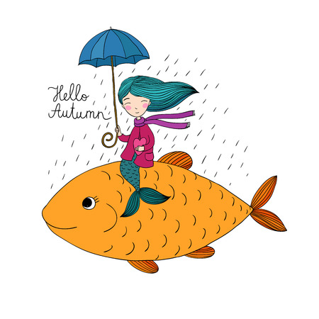 warm water fish: Beautiful little mermaid under an umbrella floating in the big fish. Hand drawing isolated objects on white background. Vector illustration. Hello, Autumn