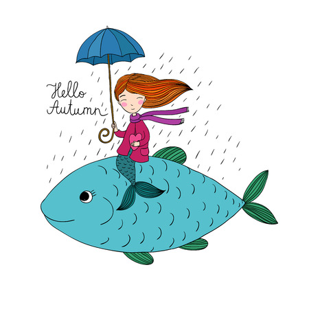 big fish: Beautiful little mermaid under an umbrella floating in the big fish. Hand drawing isolated objects on white background. Vector illustration. Hello, Autumn