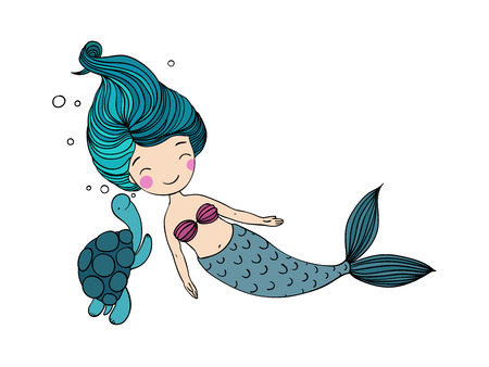Beautiful little mermaid and the tortoise. Siren. Sea theme. Hand drawn vector illustration on a white background.