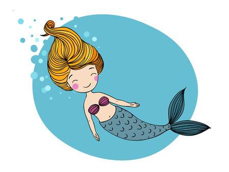Beautiful little mermaid. Siren. Sea theme. Hand drawn vector illustration Illustration