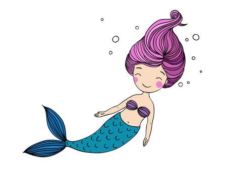 Beautiful little mermaid. Siren. Sea theme. Hand drawn vector illustration Vettoriali
