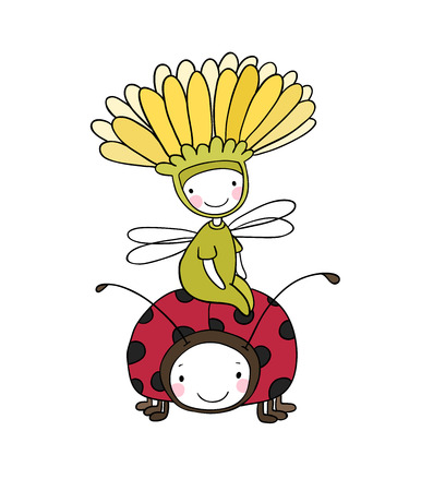 modest fashion: flower fairy and a ladybug. cute Insect. Hand drawing isolated objects on white background. Vector illustration.