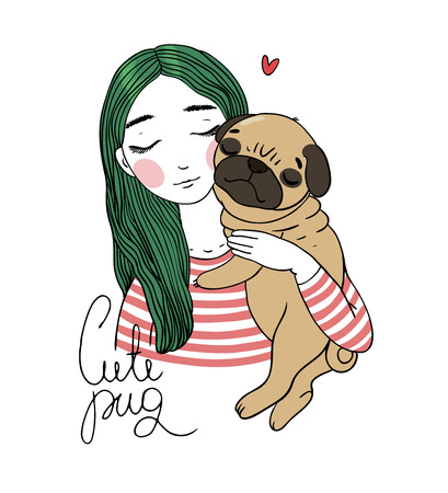 sad little girl: Beautiful young girl and a cute pug. Hand drawing isolated objects on white background. Vector illustration.