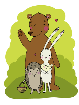 scratchy: Cute cartoon bear, hedgehog, hare and bird.Hand drawn vector illustration on a white background.