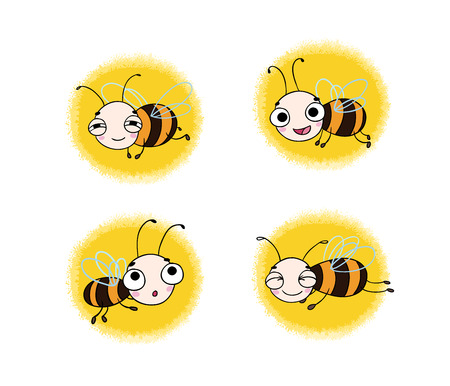 feeling exhausted: Set with cute cartoon bees. isolated objects on white background. Vector illustration.