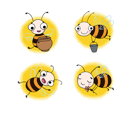 pollinate: Set with cute cartoon bees. isolated objects on white background. Vector illustration.