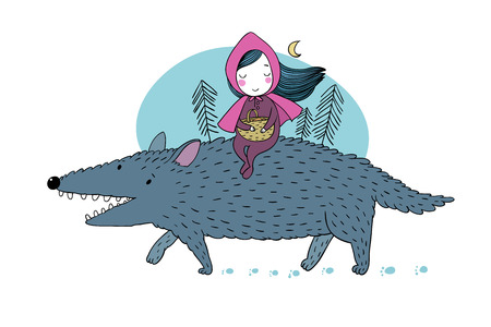 Little Red Riding Hood fairy tale. Little cute girl and big wolf. Hand drawing isolated objects on white background. Vector illustration. Illustration