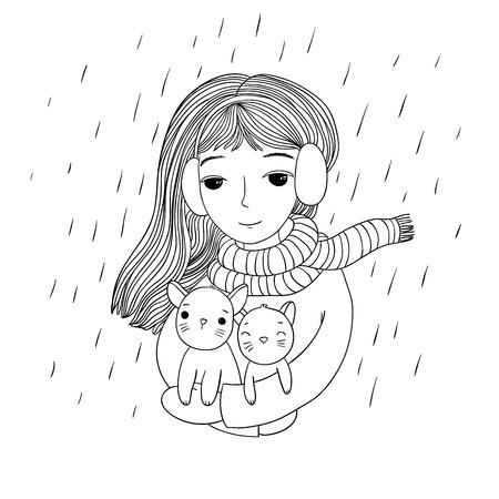 La jeune belle fille avec deux petits chatons mignons. Les animaux sauvés. thème de l'automne. Dessin à la main des objets sur fond blanc isolé. Vector illustration.