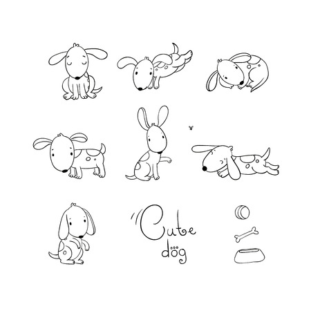 quick drawing: Set of funny cartoon dogs. Hand drawing isolated objects on white background. Vector illustration. quick sketch