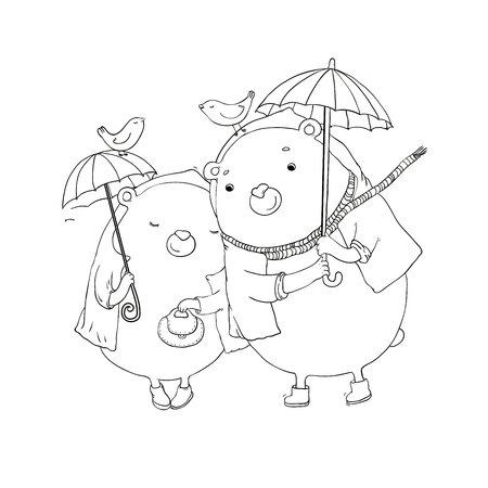 Cute teddy bear under an umbrella. Autumn theme. Hand drawing isolated objects on white background. Vector illustration. Illustration