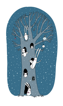 Magic Tree, rabbits, owl, dog and mouse. Winter landscape. Vector illustration. Hand drawing isolated objects on white background.
