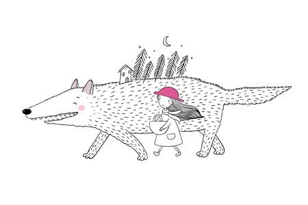 少し赤い乗馬フードのおとぎ話。小さなかわいい女の子と大きなオオカミ。モミの森と小さな家。手に白い背景の孤立したオブジェクトを描画しま