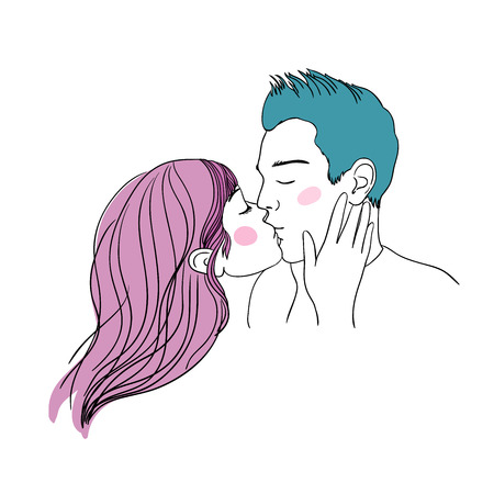 companionship: Romantic kiss loving couple. Hand drawing isolated objects on white background. Vector illustration.