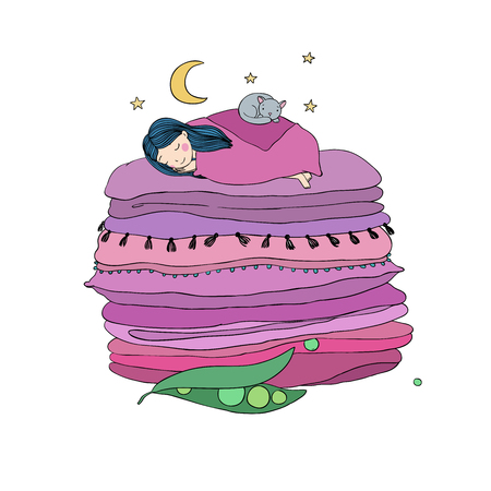 blankets: Princess on the Pea. Blankets and pillows. isolated objects on white background. Vector illustration.