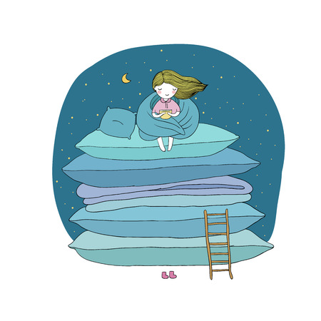 cushions: little cute girl, cushions and a ladder. isolated objects on white background. Vector illustration.