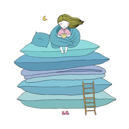 klein schattig meisje, kussens en een ladder. geïsoleerde objecten op witte achtergrond. Vector illustratie. Stock Illustratie