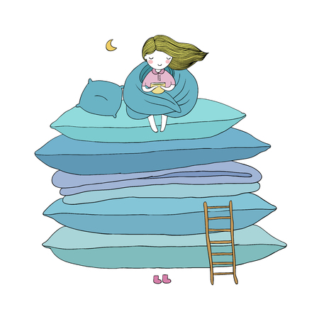 little cute girl, cushions and a ladder. isolated objects on white background. Vector illustration.